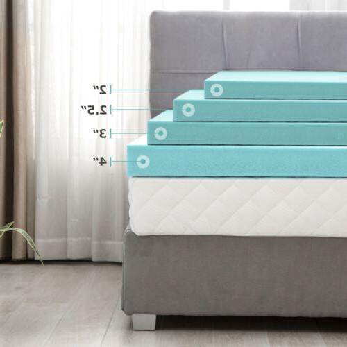 2/2.5/3/4'' Blue Memory Foam Topper-Twin