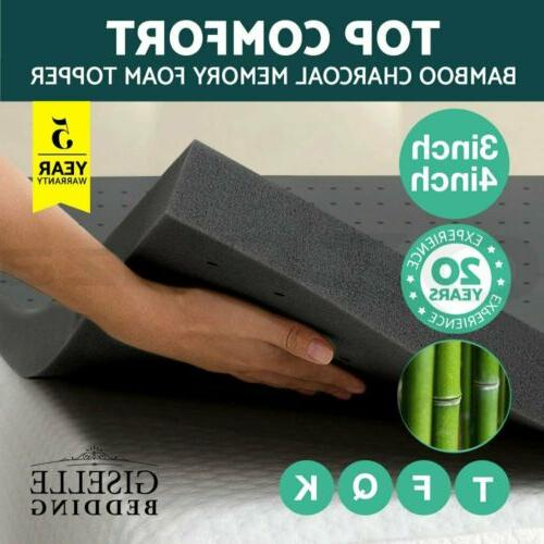 2 3 4 inch bamboo charcoal memory
