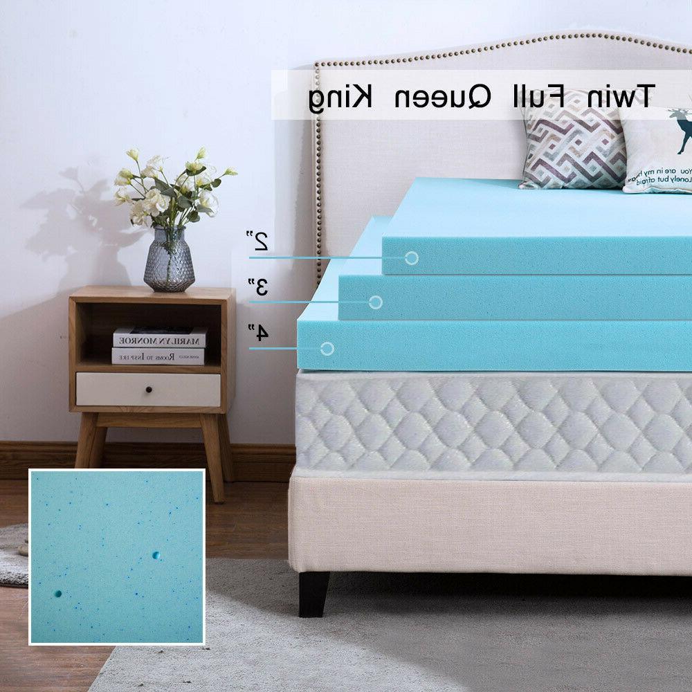 Mattress Topper 2 3 4 Inch Gel Memory Foam Cooling Blue Swir