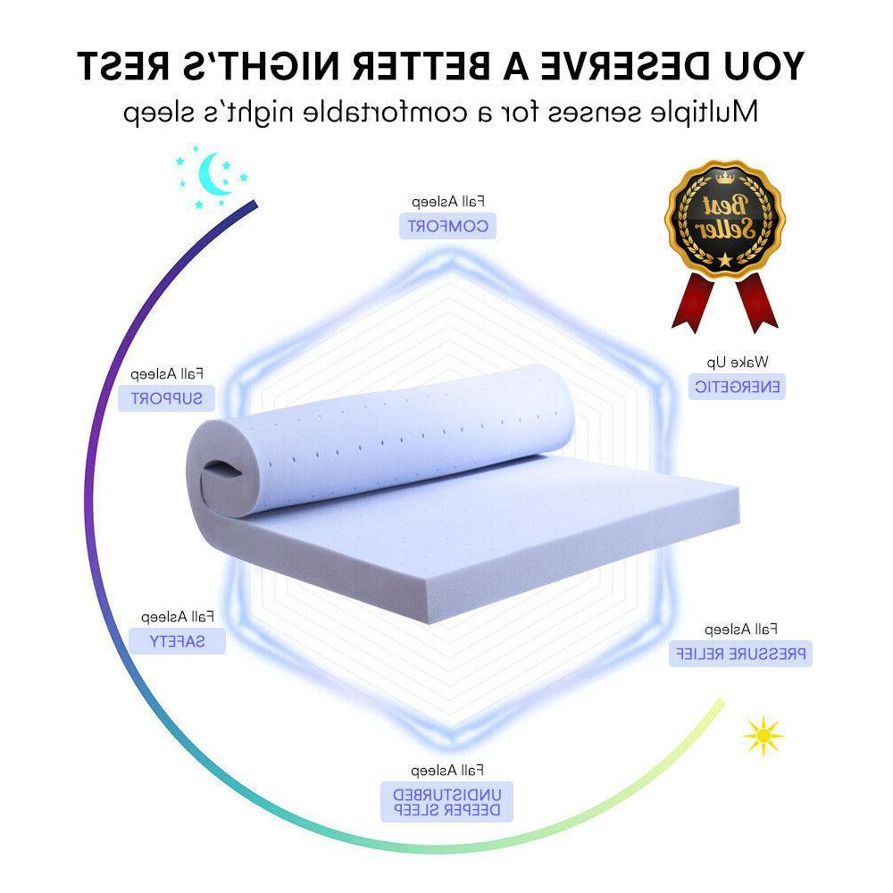 2.5''/3'' Foam Mattress Topper Light Blue Modern Bed