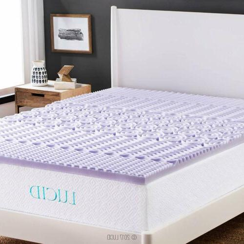 LUCID 2-inch 5-Zone Lavender Memory Foam Mattress Topper - T
