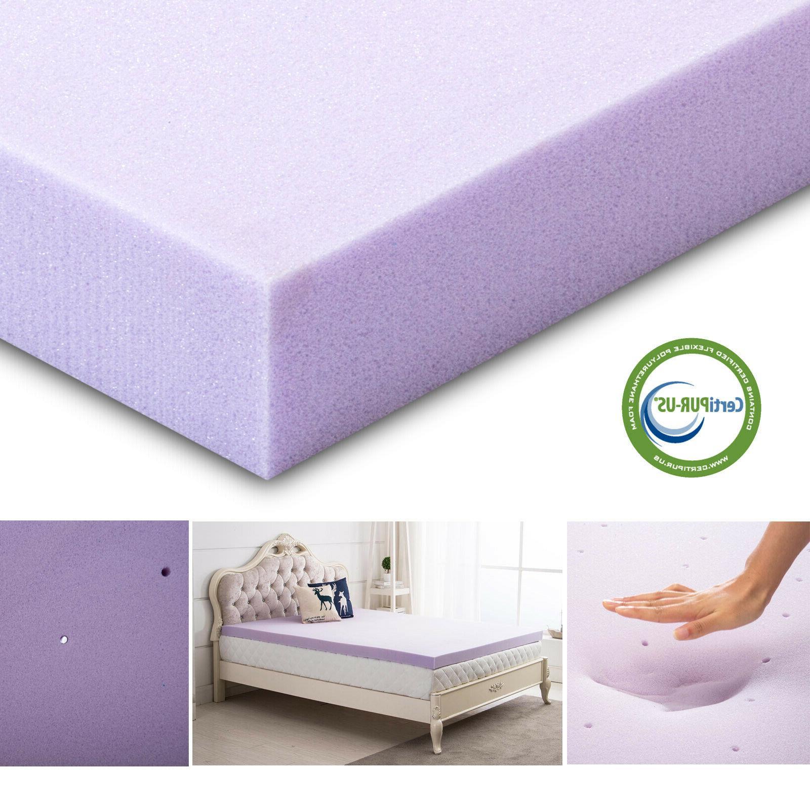 3 Inch Twin Memory Foam Mattress Topper Lavender Comfort Sof