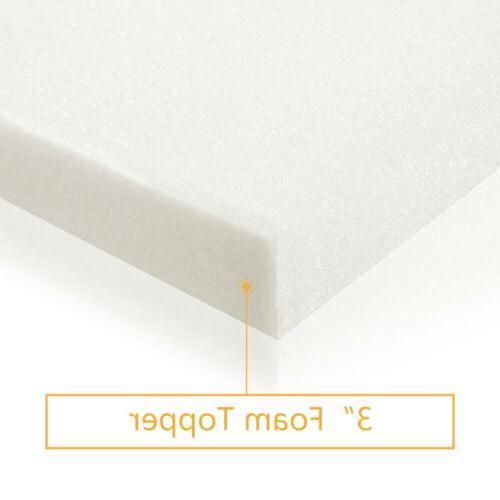 "3"" Comfort Gel Memory Topper Furniture White"