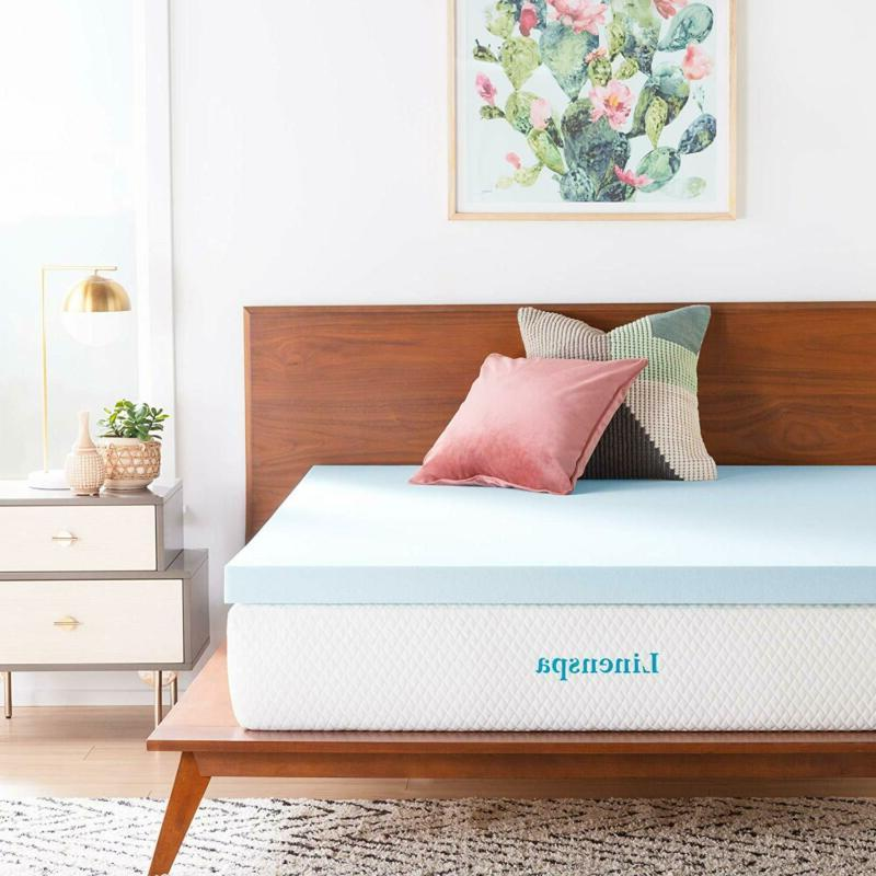 Linenspa 3 Inch Gel Infused Memory Foam Mattress Topper - Qu