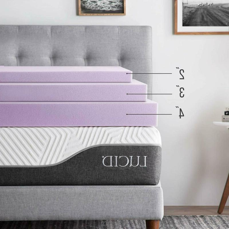 LUCID 3 Inch Lavender Infused Memory Foam Mattress Topper - -