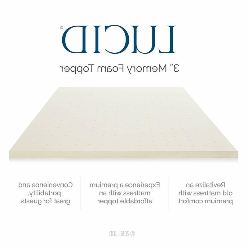 LUCID 3 Inch Memory Foam Topper 3-Year Warranty
