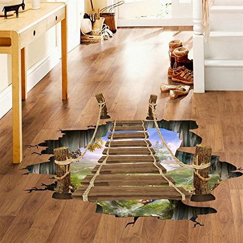 3d bridge floor wall stickers