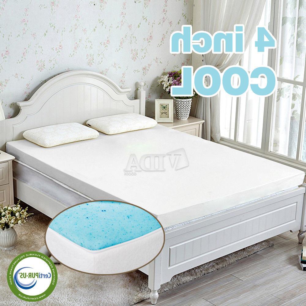 4 gel infused memory foam mattress topper