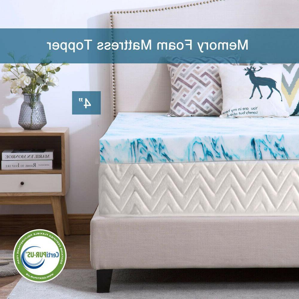4 inch blue swirl memory foam mattress
