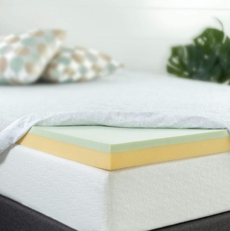 Zinus 4 Inch Green Tea Memory Foam Mattress Topper, King