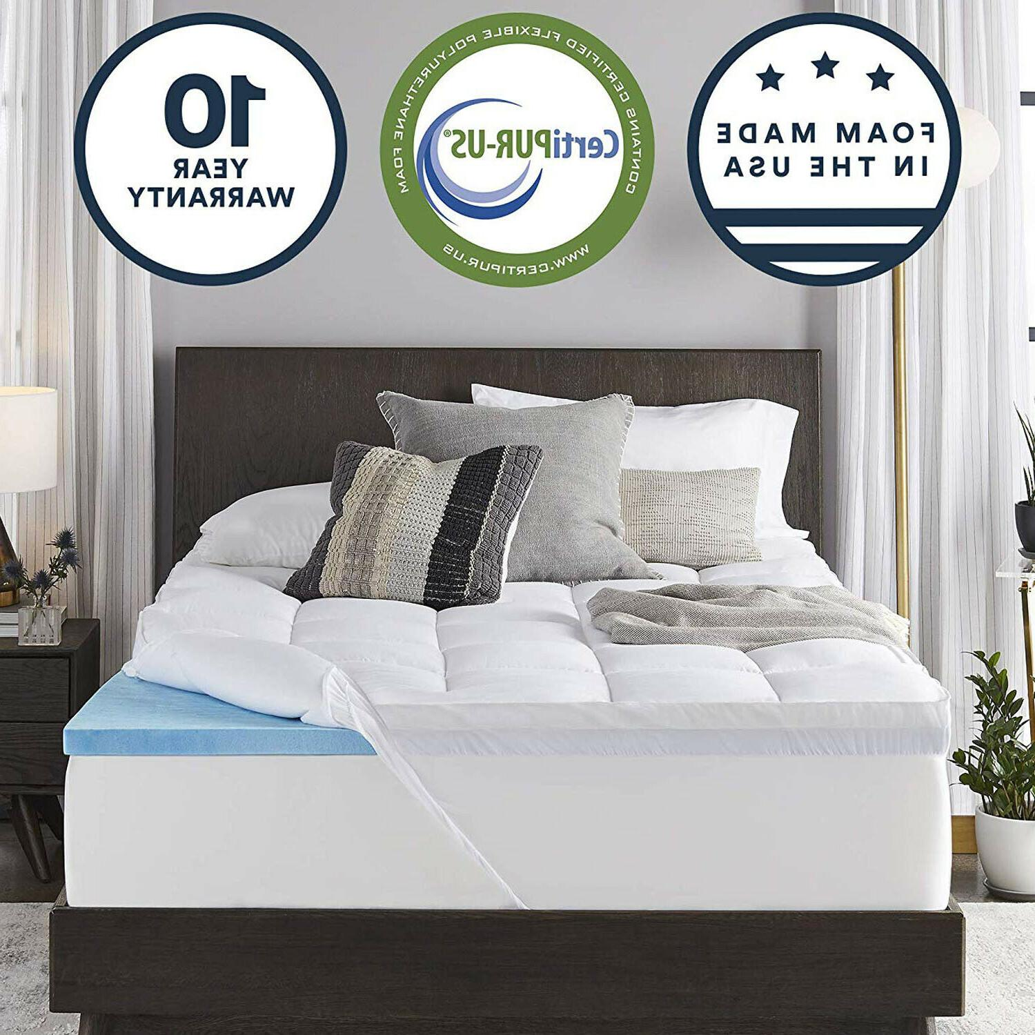4 Inches Gel Memory Foam Mattress Topper Dual Layer Cooling