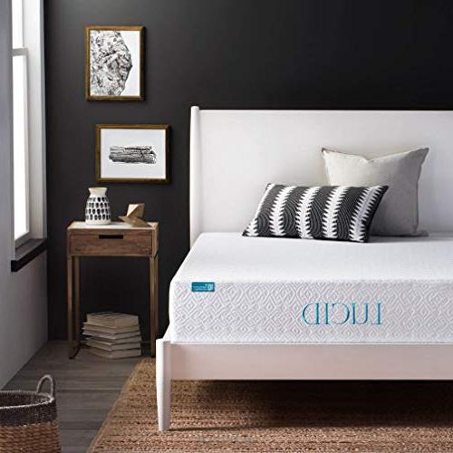 LUCID 10 Inch Plush Memory Foam Mattress - Dual-Layered - Ce