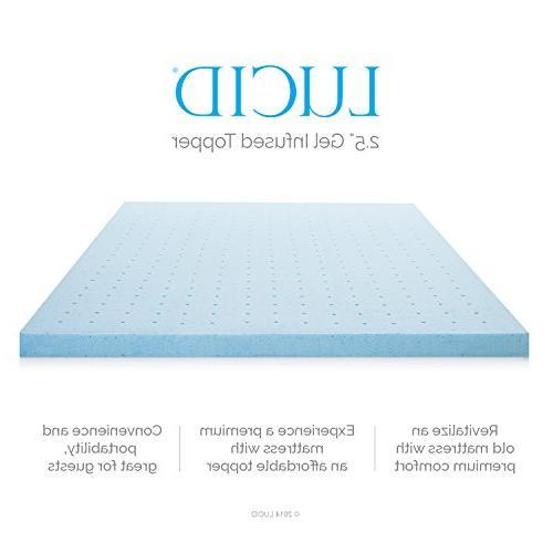 LUCID 2.5 Inch Gel Infused Foam Mattress Tencel Blend Cover U.S. - King Size