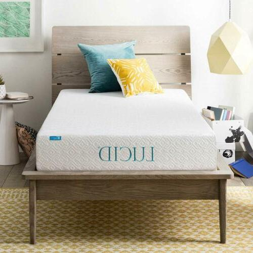 LUCID 8 Inch Gel Infused Memory Foam Mattress - Medium Firm