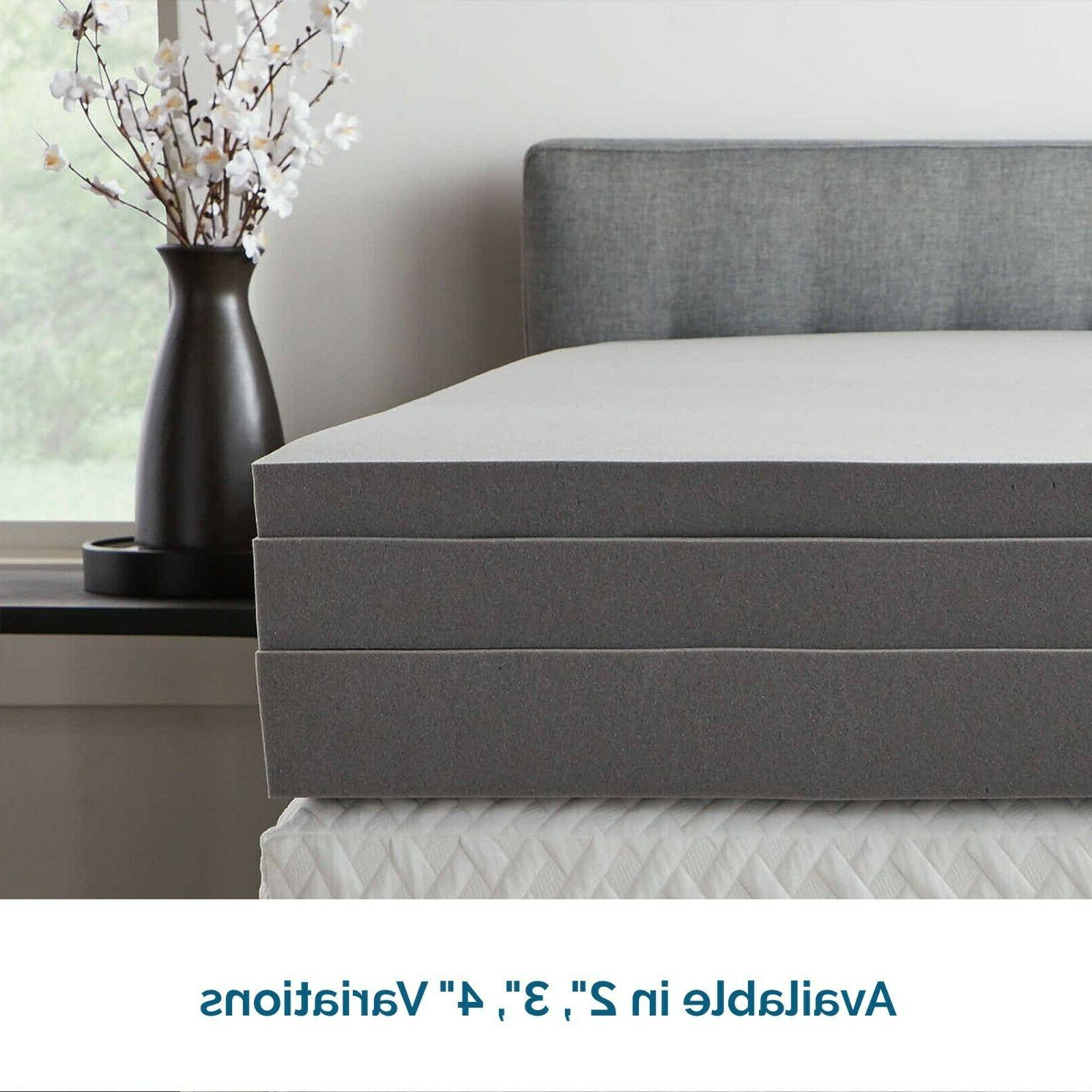 LUCID Comfort Collection Bamboo Charcoal Memory Foam Topper