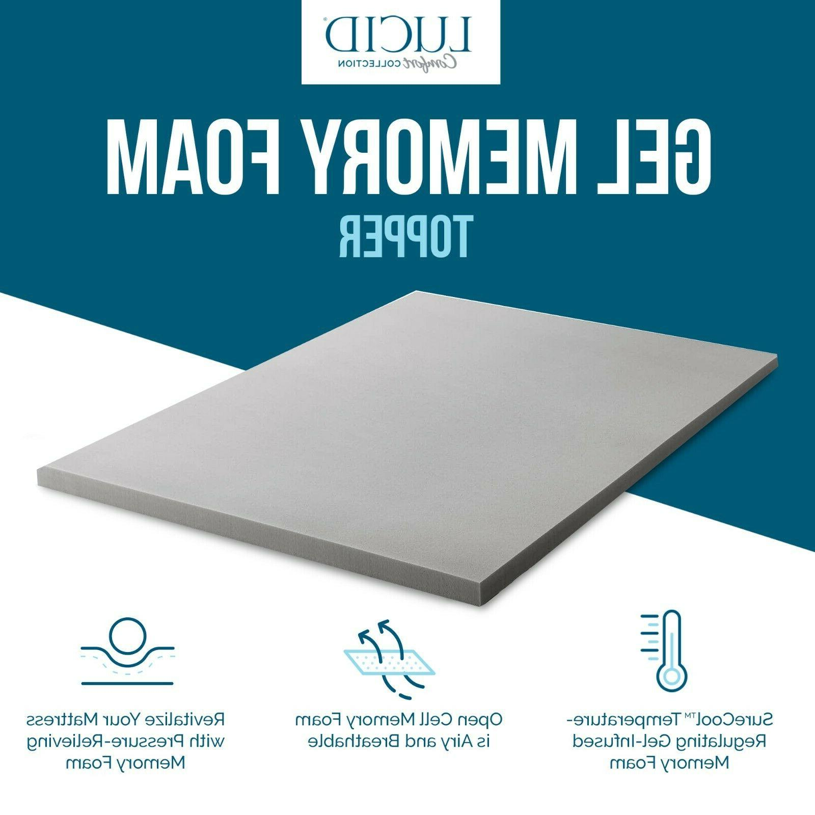 LUCID Collection Charcoal Memory Foam Topper