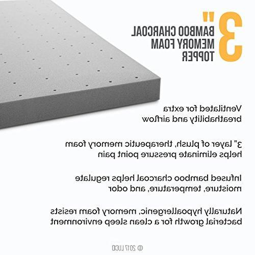 LUCID Charcoal Memory Mattress Topper Twin XL