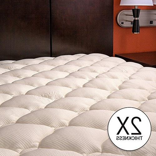 eLuxurySupply Thick Mattress Pad with Fitted Cooling - Hypoallergenic - Proudly The USA