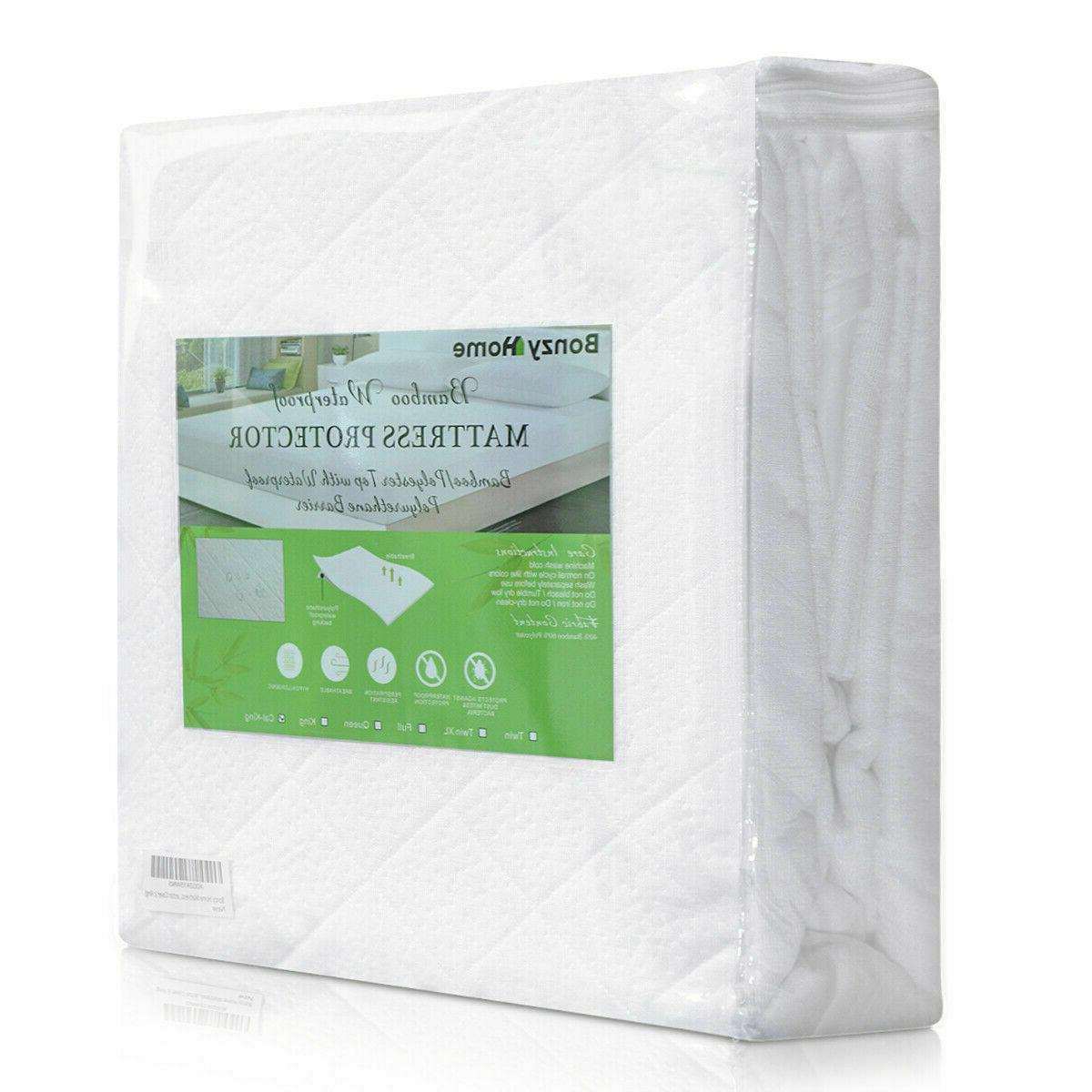 Bamboo Mattress Topper Queen Fitted Pad Protector