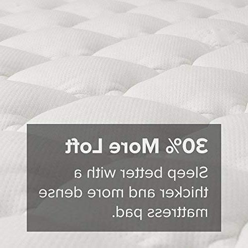 eLuxurySupply Bamboo Mattress with Skirt Cooling Topper - Hypoallergenic - Made in The