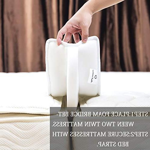 AmA creations Bed Twin to Converter Kit/Mattress Bed Filler Family Bed with Wide Strap