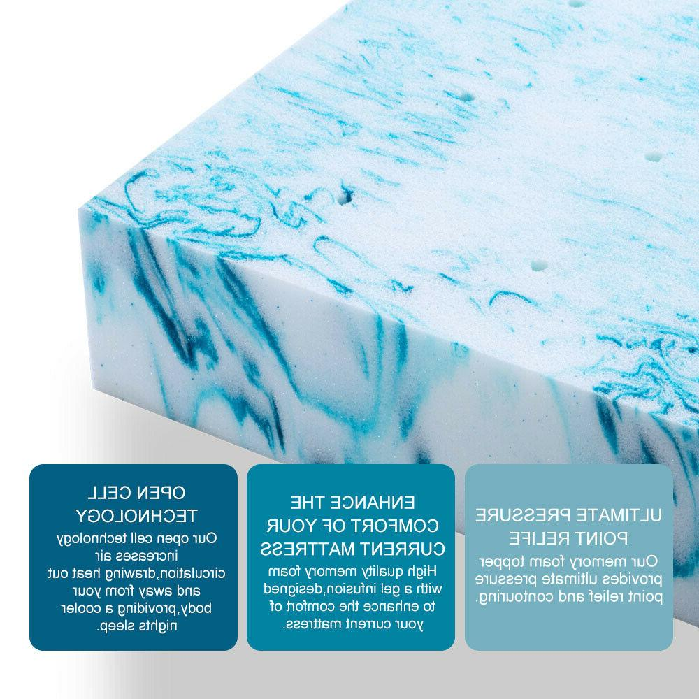 Blue Gel Memory Foam 4 Topper Queen