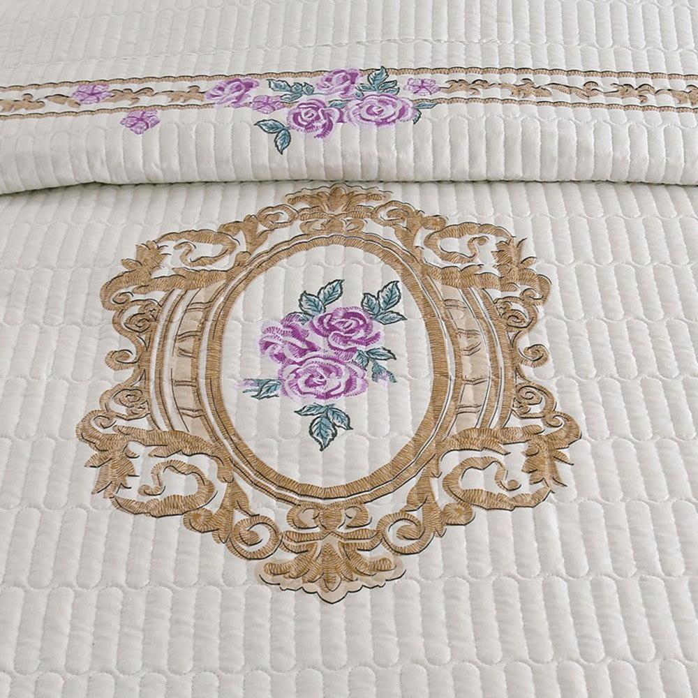 Floral Beige king <font><b>size</b></font> Bed <font><b>Mattress</b></font> Blanket Pillowcase 3pcs