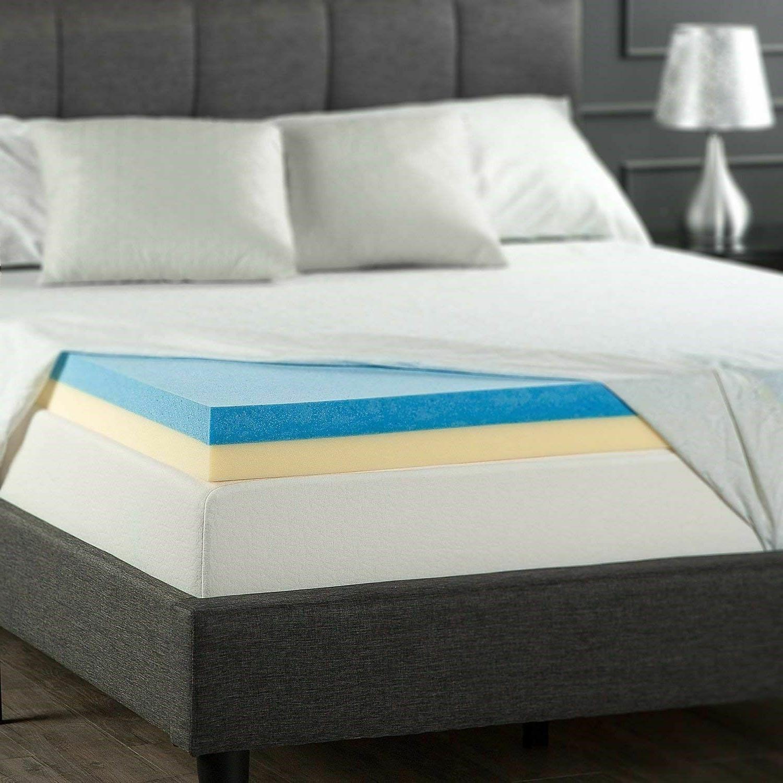 gel memory foam mattress topper queen size