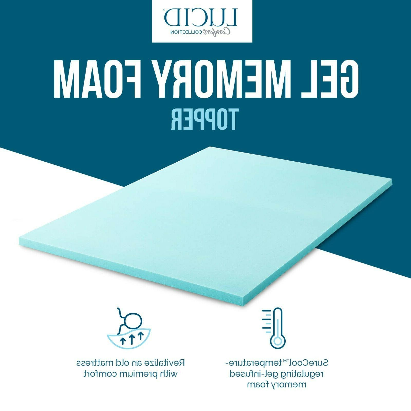LUCID Comfort Collection Gel Memory Mattress Topper