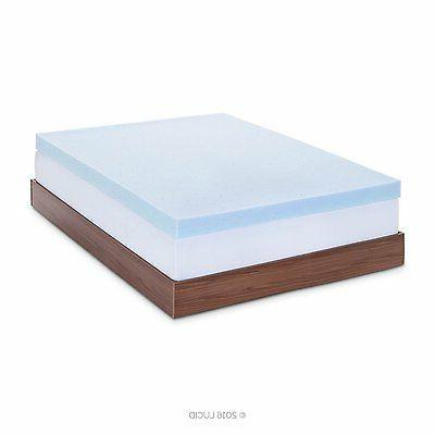 LUCID 4 Inch Gel Memory Foam Mattress Topper - Ventilated fo