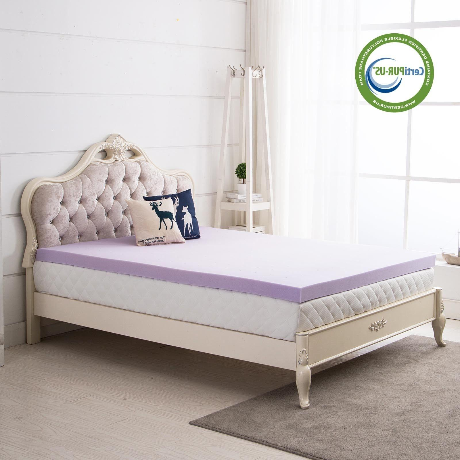 2.5/3/4 Inch Memory Mattress Lavender Dot Queen Twin Full