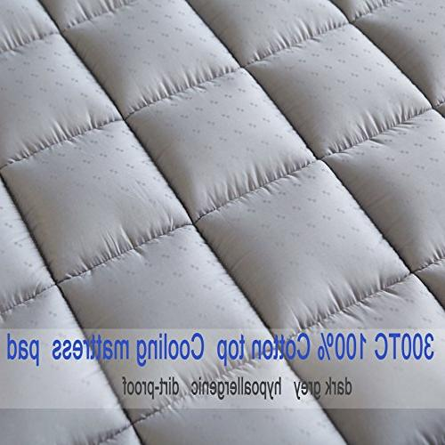 Mattress Pad - Cooling Thick Cotton Pocket - Quilted Pillowtop
