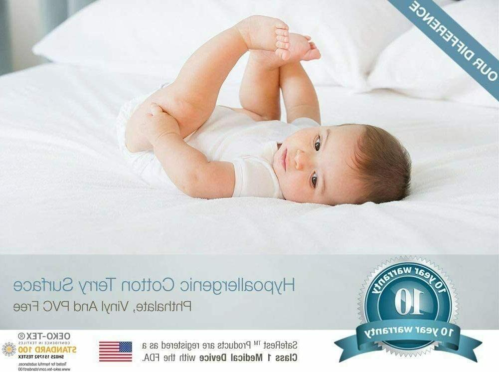 Saferest Mattress Protector Bed Topper Waterproof Cover Hypoallergenic Cotton
