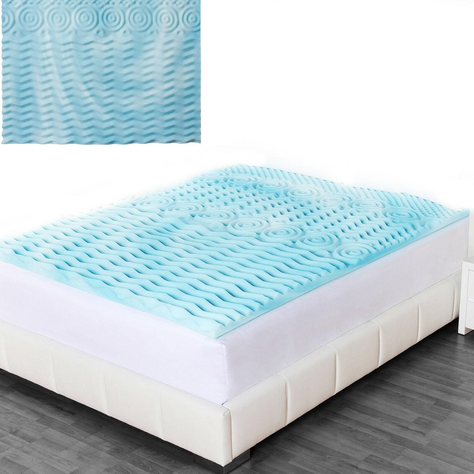 "MEMORY FOAM MATTRESS TOPPER 2"" Orthopedic Pad 5 Zone Hypoall"