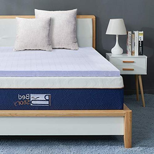BedStory Topper Full, 3 Inch Lavender Infused Foam Mattress with Memory Foam Bed with Ventilated Design