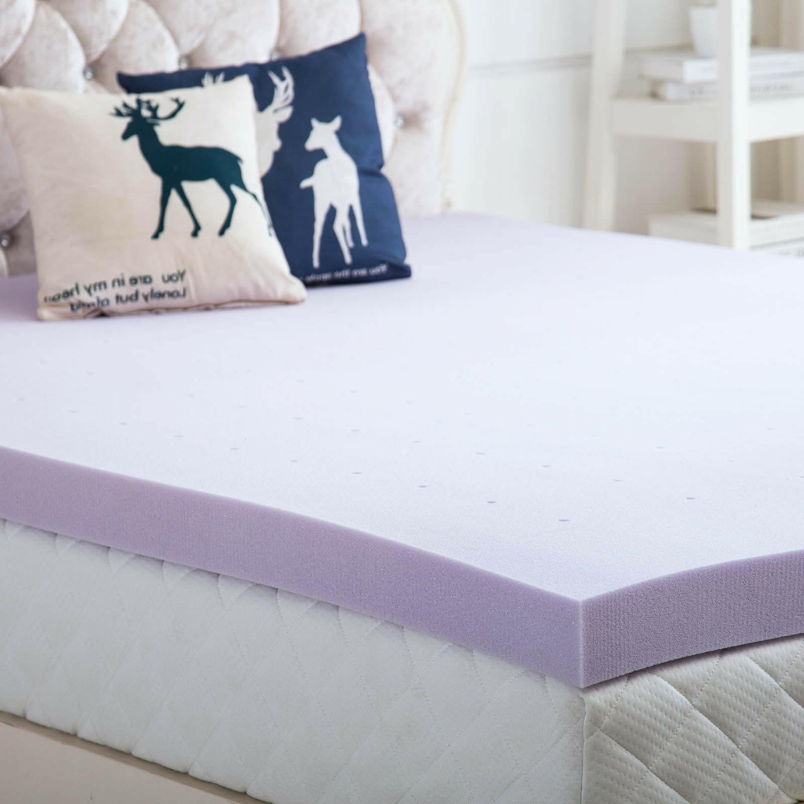 3 Mattress Topper Lavender Dot Bed King Soft