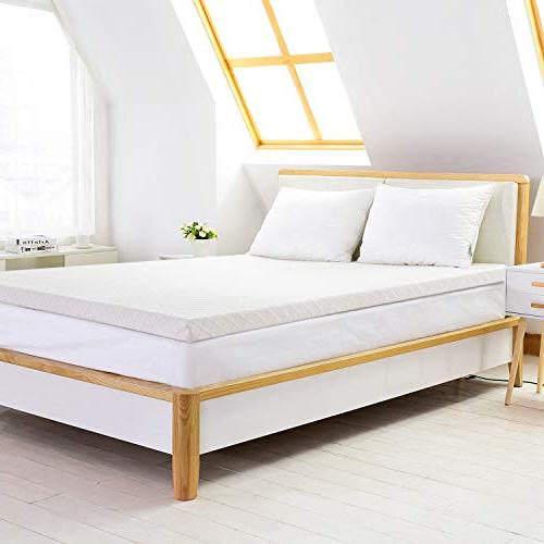 Recci 3in Mattress Bed Topper, Mattress Bamboo Cover Removable &