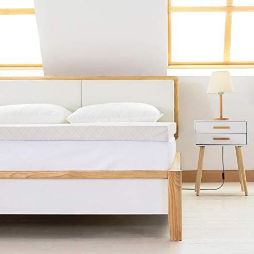 Recci Memory Mattress Topper Bed Topper, Mattress Pad Bamboo - Removable Washable, CertiPUR-US