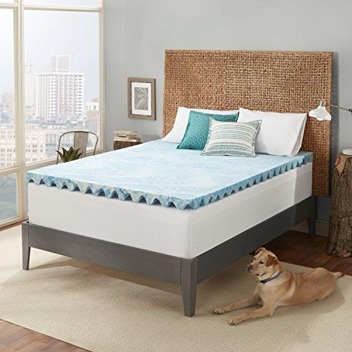 Sleep Innovations Support Gel Memory Mattress Topper Air Channels in The with a 10-Year Queen