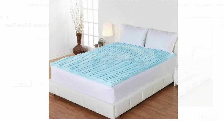 Queen Gel Memory Foam Mattress Topper 2-Inch Cooling Spa Zon