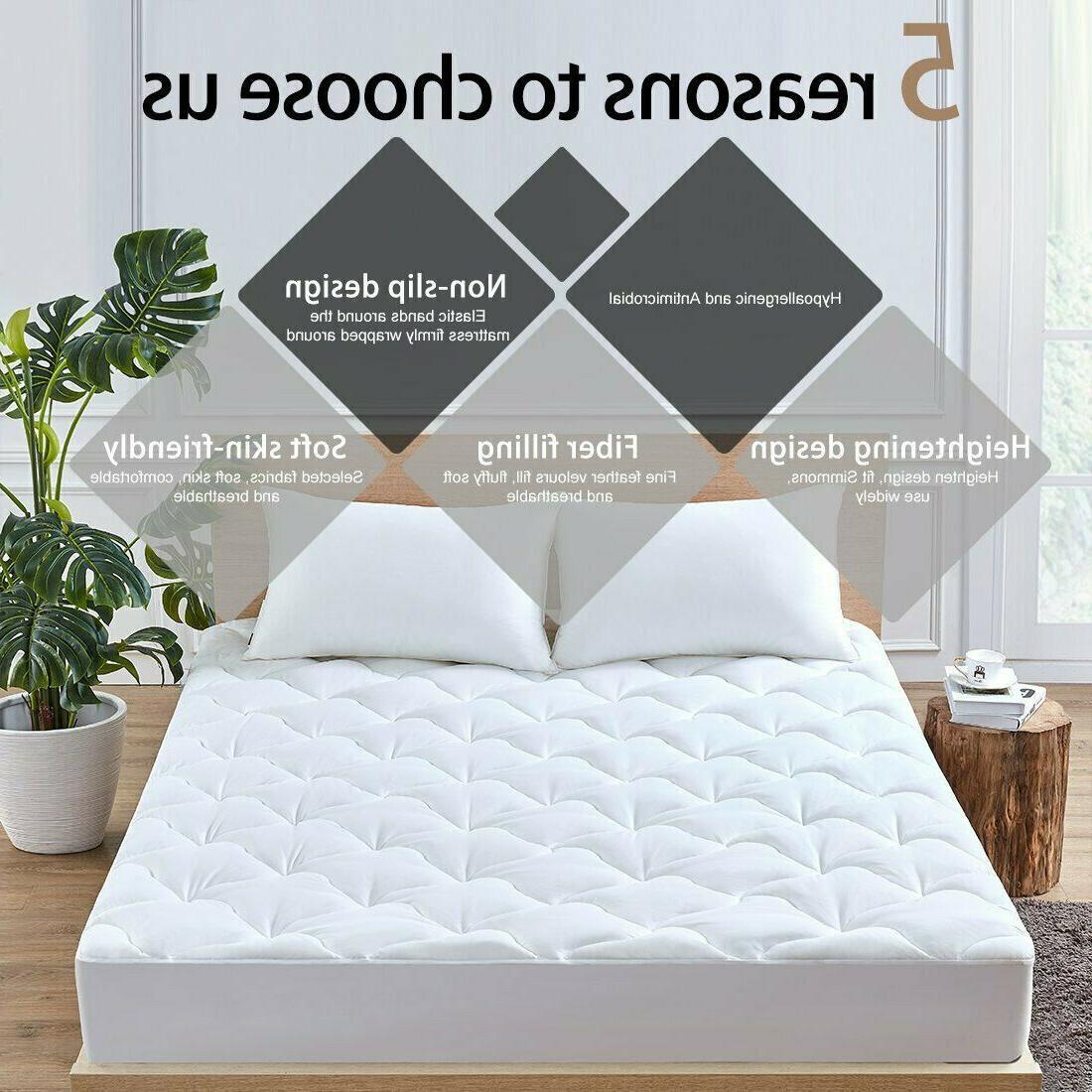 Queen Mattress Pad Cover Down Alternative Pillow Topper Bed