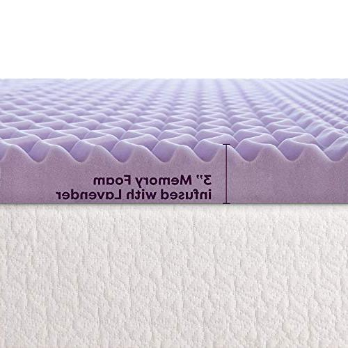 Best Price Mattress 3 Inch 5-Zone Foam Topper with Lavender Infused Cooling Pad