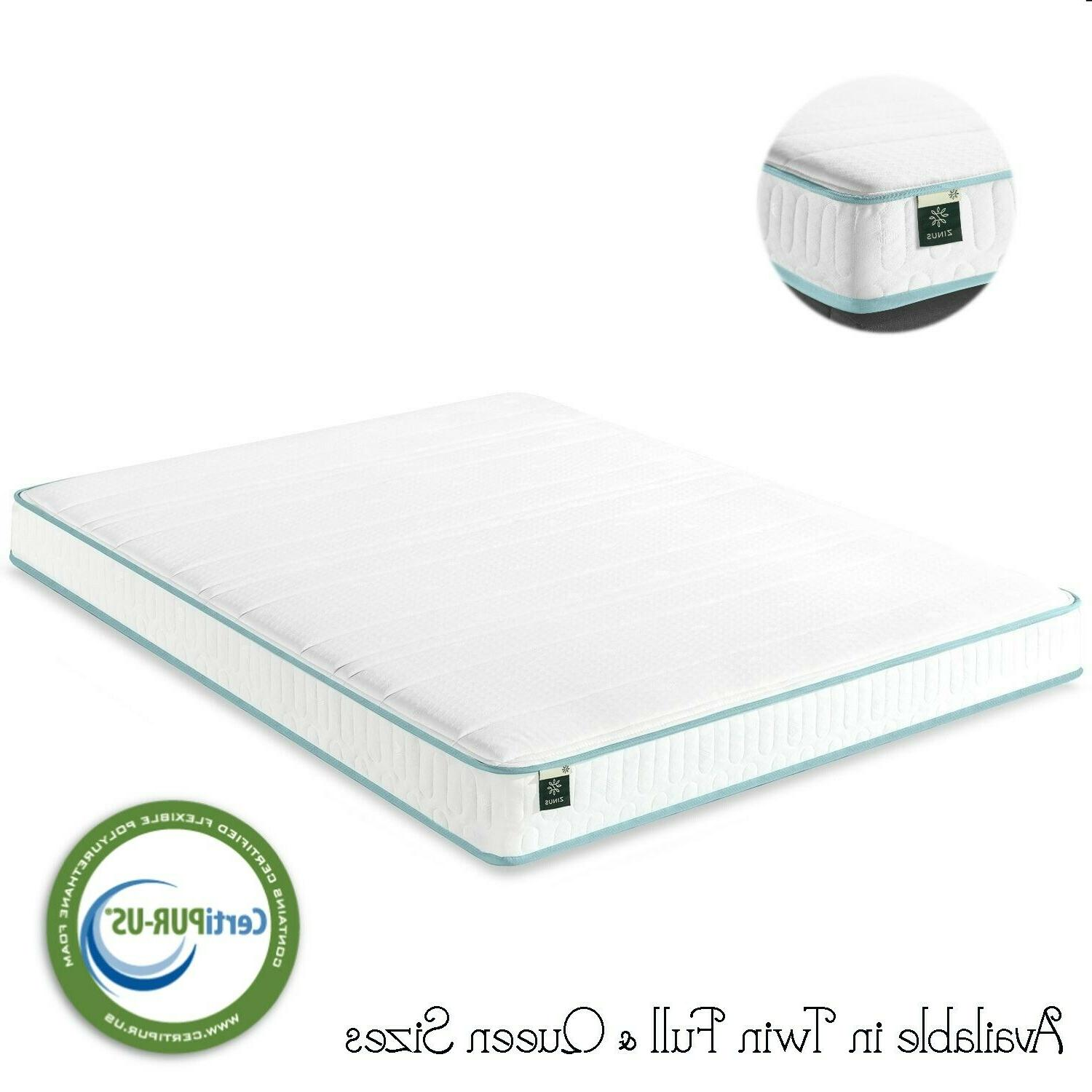 Twin Full Queen Size Zinus Hybrid Memory Foam Green Tea Spri