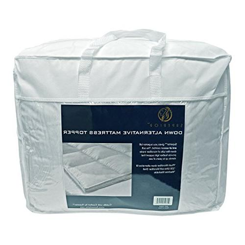 """Superior Twin Mattress Hypoallergenic Featherbed Mattress Plush, Overfilled, and 2"""" Thick"""