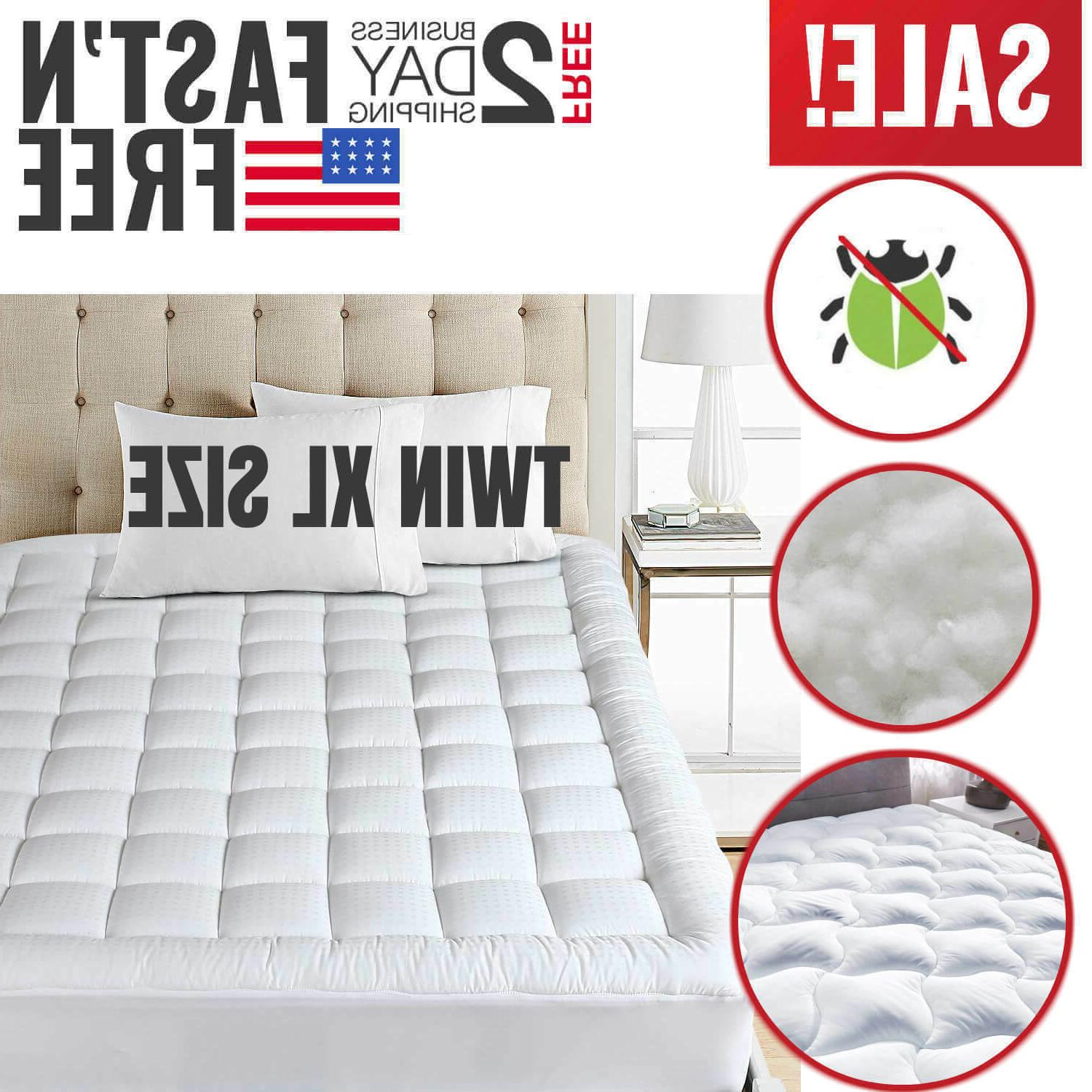 Twin XL Size Mattress Pad Cover Down Alternative Pillow Top