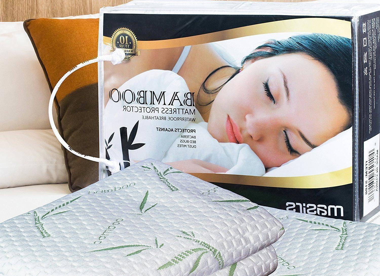 Bamboo Waterproof Mattress Protector  Soft Hypoallergenic Pa