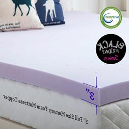2.5/3/4 Inch Memory Foam Mattress Topper Lavender Gel Dot Qu