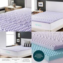 Lucid 2 Inch 5 Zone Lavender Memory Foam Mattress Topper - Q