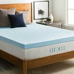 "LUCID 3"" Mattress Toppers Gel Memory Foam Topper, Blue, Full"