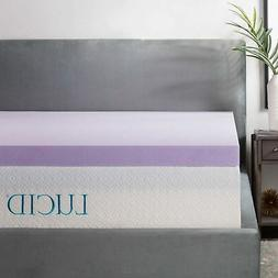 LUCID 3 Inch Lavender Infused Memory Foam Mattress Topper -